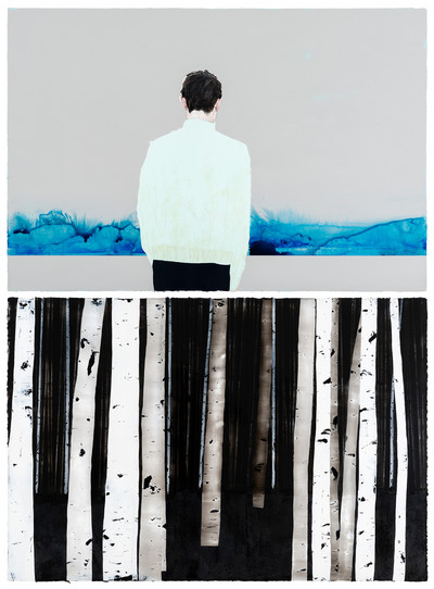 Chen Yun | Indigo. The light from the forest shine on the blue ocean